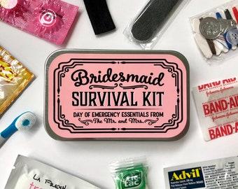 Bridesmaid Wedding Day Survival Kit Gift, Will You Be My Bridesmaid Hangover Emergency Kit, Bridesmaid Gift Box Tin
