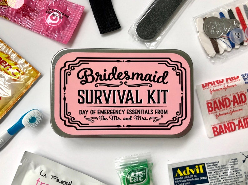 Bridesmaid Wedding Day Survival Kit Gift Will You Be My image 1