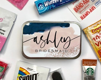 Personalized Bridal Party Gift Box Survival Kit Tin, Bridesmaid Proposal Gift Idea for Wedding Party, Will You Be My Maid of Honor