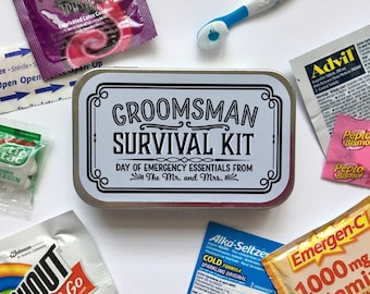 Survival Kit Gift Box Tin for Groomsman Best Man, Will You Be My Proposal Gift Idea, Wedding Party Favor Box Gift From Groom