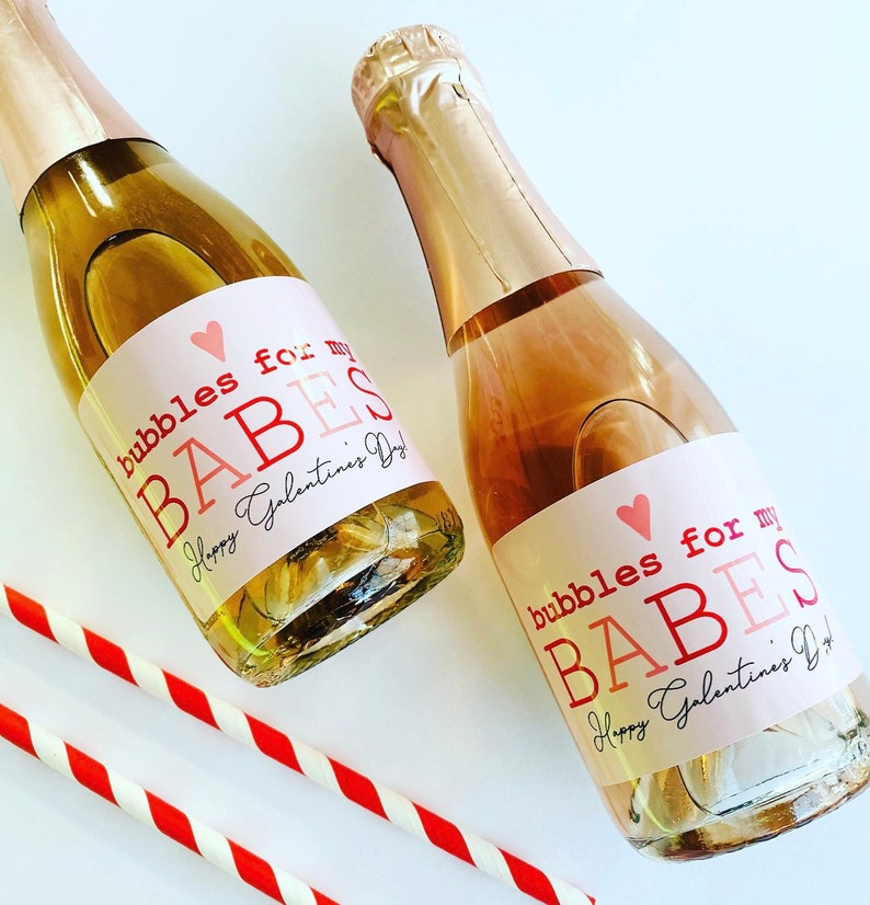 Galentine's Day Bubbles for my Babes Labels