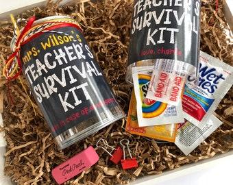 Survival Kit Gift for Teacher Appreciation Day, Unique Teacher Gift Box Can, Thank You Teacher Emergency Kit Gift, Best Teacher Gift Bag