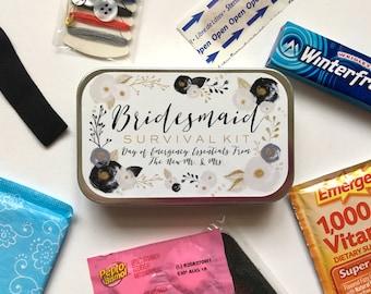 Bridesmaid Gift, Bridesmaid Survival Kit, Survival Kit Sticker, Bridesmaid Sticker, Wedding Day Survival Kit, Emergency Kit, Wedding Favor