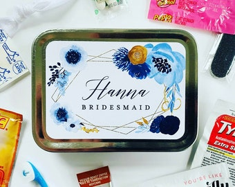 Bridesmaid Wedding Day Survival Kit Gift, Will You Be My Bridesmaid Hangover Emergency Kit, Dusty Blue Bridesmaid Gift Box Proposal Idea