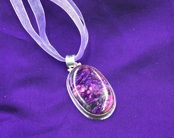 Pink and purple charoite necklace