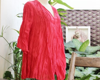 Comfy Cotton Blouse - Fresh Red