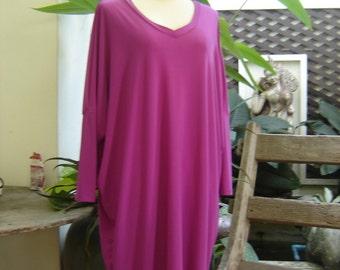 M-XL Soft Spandex V neck Comfy Tunic - Violet