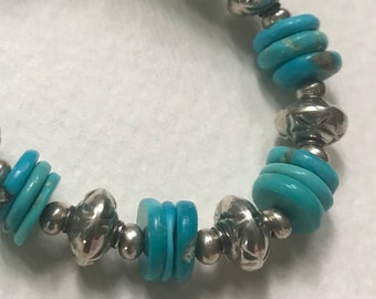 turquoise disk and sterling silver bracelet
