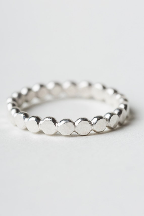 Sizes 2 to 4 Small Band Ring Hammered Sterling Silver