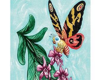 Tropical Mothra - Orchids and Kaiju 8x10 Godzilla tiki tribute print