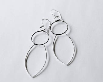 Extra Long Sterling Silver Earrings,  Sculptural Silver Earrings, Modern Large Hoop Earrings
