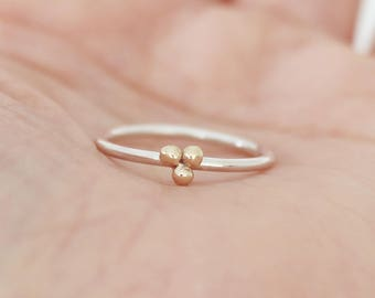 9ct gold and silver trio balls ring, seed gold ring, minimalist stacking ring