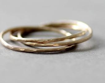 9ct Gold Interlocking ring, gold slim rings, rolling rings, rose gold interlocking ring, 18ct thin ring, 14k gold ring
