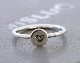 Personalized sterling silver ring, initial silver ring, stacking ring, letter stamped ring