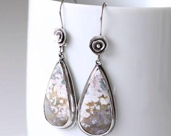 Ocean Jasper Sterling Silver Earrings, Artisan Statement Dangle Earrings, Flower Earrings, Dreams of Spring, One of a kind