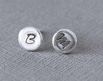 Personalized sterling silver studs, initial silver post earrings, letter stamped earrings