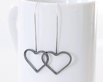 Silver Heart Dangle Earrings, Modern Thread Earrings, Two Tone Heart Earrings