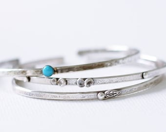 Set of Three Sterling Silver Cuff Bracelet, Turquoise Artisan Silver Cuff Bracelet, Nature Inspired, Pebble and Leaf bracelet