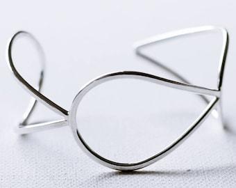 Silver Teardrop Cuff Bracelet, Modern Sterling Silver Cuff Bracelet, Droplet Edgy Bracelet