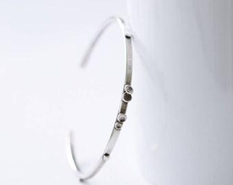 Pebble Sterling Silver Cuff Bracelet, Modern Rustic Silver Cuff Bracelet, Nature Inspired Bracelet