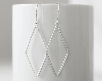 Large Diamond Shape Sterling Silver Earrings, Geometric Silver Earrings, Textured Dangle Earrings, Simple Everyday Earrings