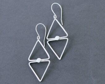 Diamond shape silver dangle earrings, double triangle edgy earrings, geometric lightweight dangle earrings