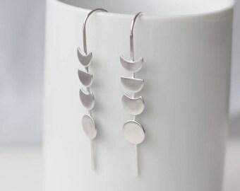 Moon dangle earrings, moon phase earrings, lightweight, unusual silver earrings