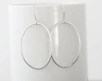 Large Oval Sterling Silver Earrings, Organic Silver Earrings, Textured Dangle Earrings, Simple Everyday Earrings