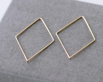 Diamant en or massif, anneau or Simple, moderne et contemporain boucles d'oreilles