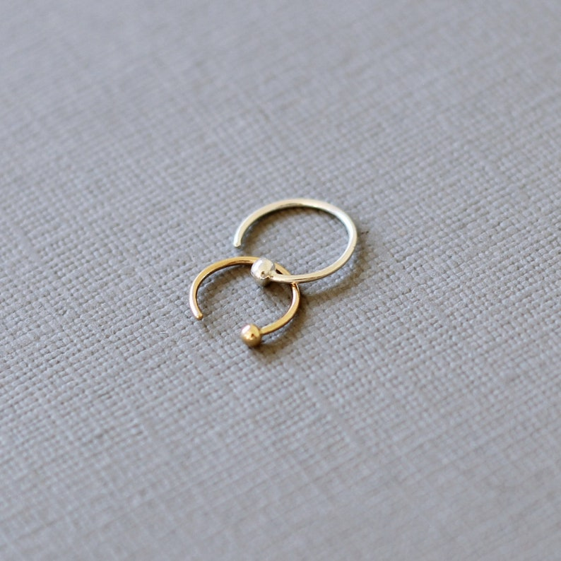 dfec3b182e8 Tiny Solid Gold Ball Hugging Hoops, rose gold hoops, 9ct yellow gold, 18ct  gold single earring