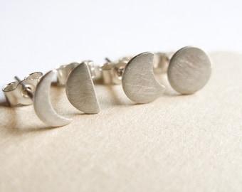Moon Phase Studs, Silver Moon Earrings, mismatched earrings set