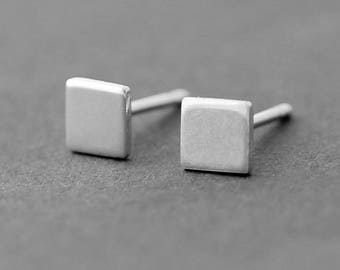 Tiny Square sterling silver studs, Geometric silver post earrings, single silver stud