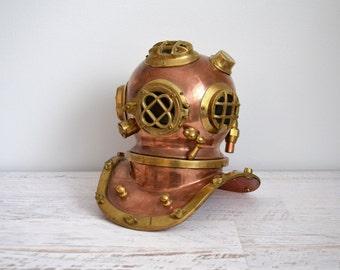 RESERVED Vintage Nautical Decor, Miniature Scuba Helmet, Brass, Copper Metal Diving Gear, Sculpture, Heavy Figurine, Industrial