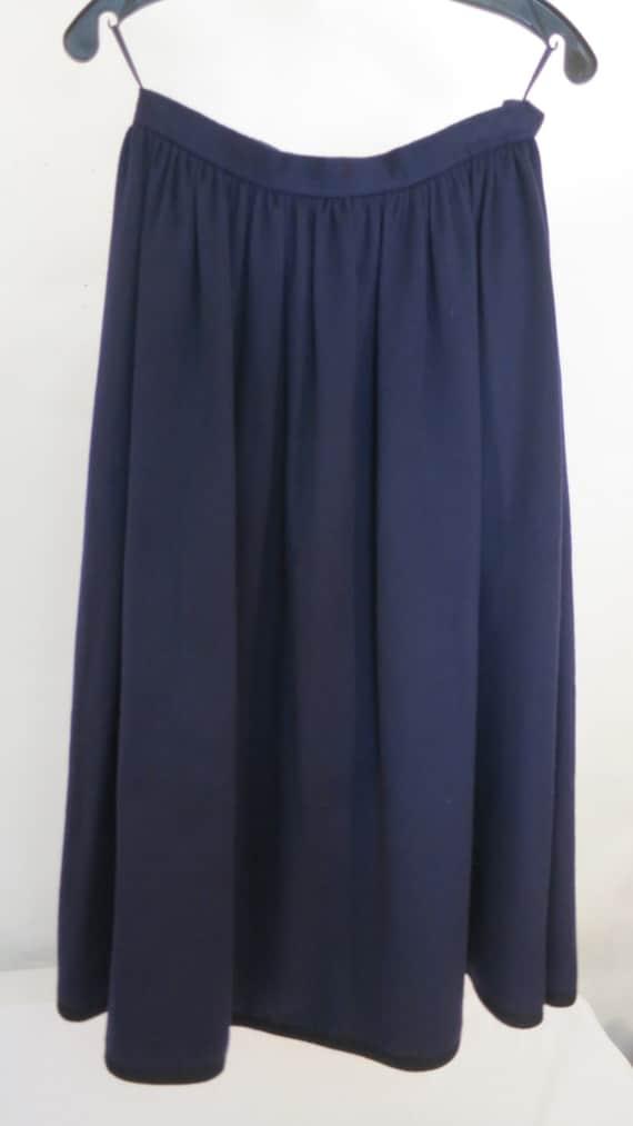 Vintage Saint Laurent Rive Gauche Navy Wool Skirt
