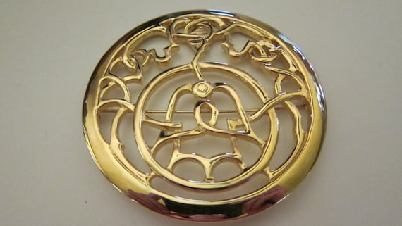 Vintage Mary McFadden Large Gold Plated Brooch