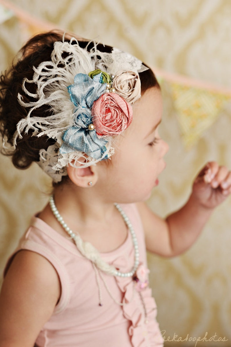 mademoiselle silk bow rosette headband with feathers image 0