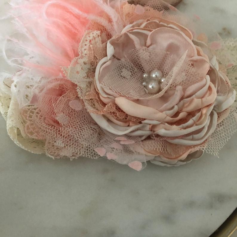 Peach Couture Flower Headband
