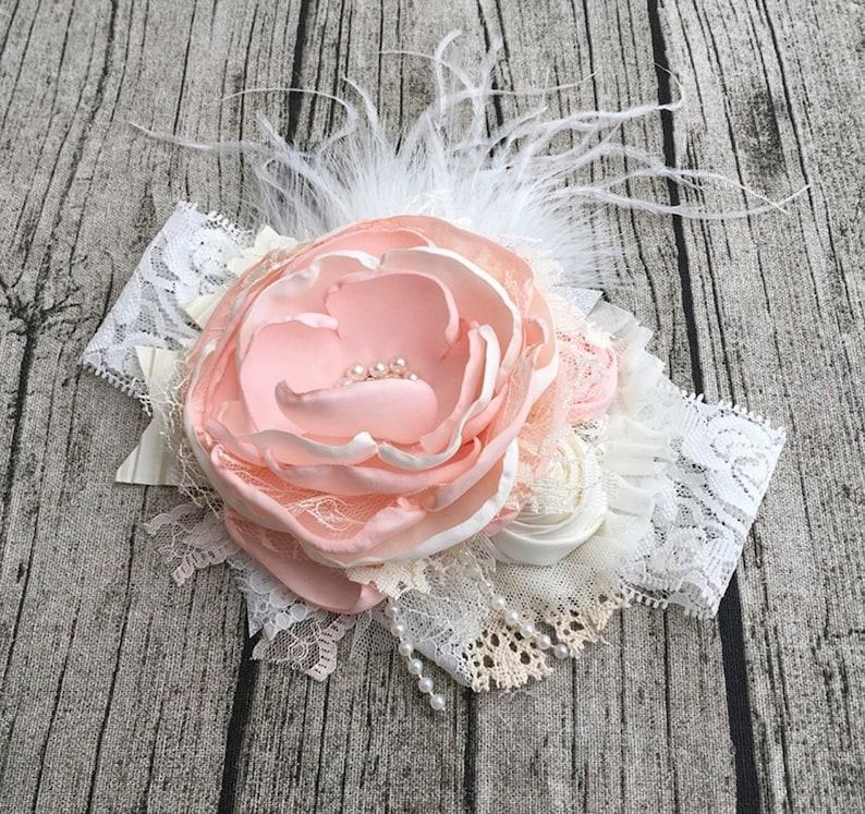 Peachy Peach Flower Headband Cozette Couture