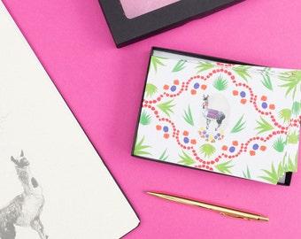 Llama Greeting Card Set // Llama Gift // Boxed Note Cards // Llama Print // Llama Birthday Card // Llama Pattern //