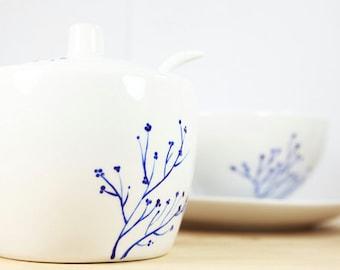 Hand Painted Ceramic Sugar Bowl with spoon Blue botanical design Modern Minimalist Kitchen Decor