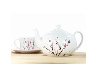 White Ceramic Teapot hand painted blooming cherry tree pink black minimal modern botanical kitchen decor decorative art