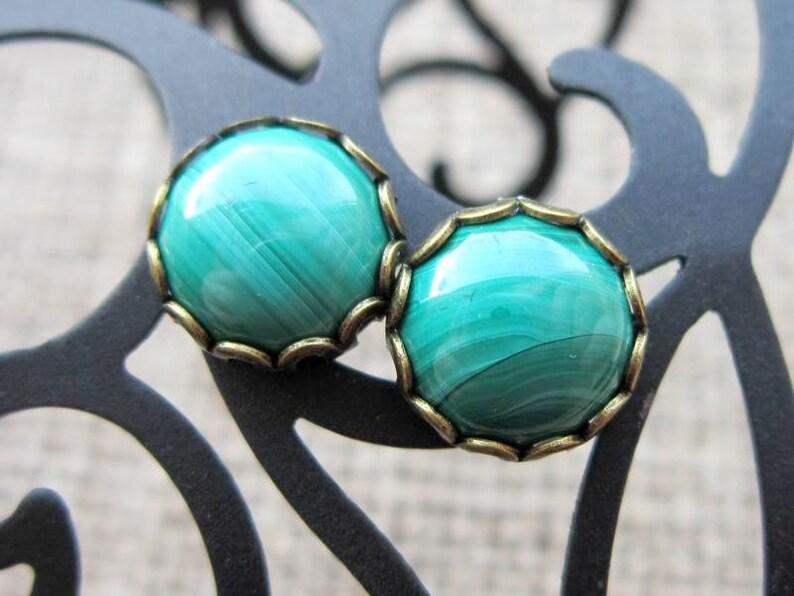 Gifts For Men Cuff Links Formal Wear Black Tie Weddings Green Malachite Gemstone Round Bronze Cufflinks
