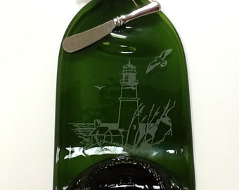 1.5L Fused Wine Bottle Cheese Tray, Lighthouse