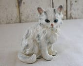 Vintage Cat Figure Kitten Long Hair grey white blue eyes Hand Painted Face Crazy Cat Lady Collection