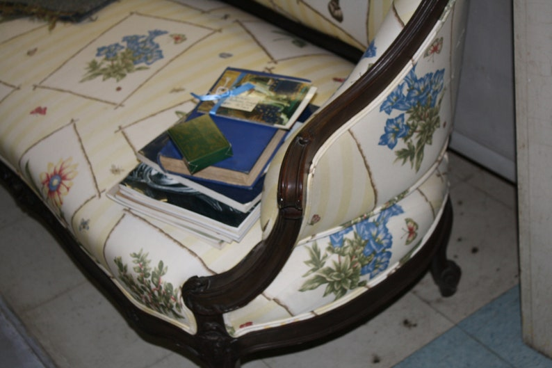 Victorian Sofa Settee Loveseat Carved Wood Frame Botanical Floral upholstery Yellow Stripes English Vintage Antique Seating