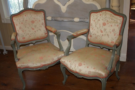 image 0 - Antique Upholstered Chairs Set Of 2 Silk Chintz Floral Arm Etsy