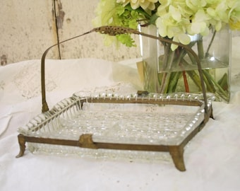 Antique Vanity Tray Pressed Glass Metal Gold Filigree Mount Handle Footed Server Many Uses Vanity Bedroom Boudoir Classic Chic