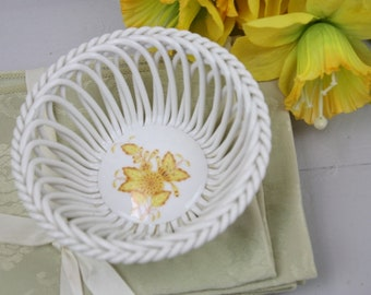 Herend Bowl Porcelain Lace Basket Weave Hand Painted Yellow Flower Asian Signed Vintage Signed Herend Gift Collectible