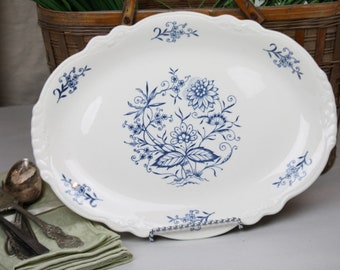 "Homer Laughlin Dresden Platter Blue White Florals Vintage 13.5"" x 10"" Blue Onion"