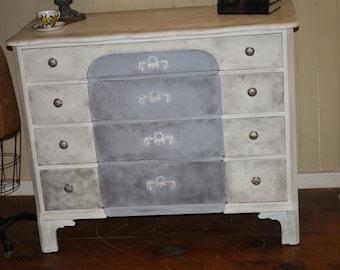 Shabby Chic Dresser Painted White Gray Black Floral Appliques Vintage Distressed Annie Sloan Chalk Paint Black Wax